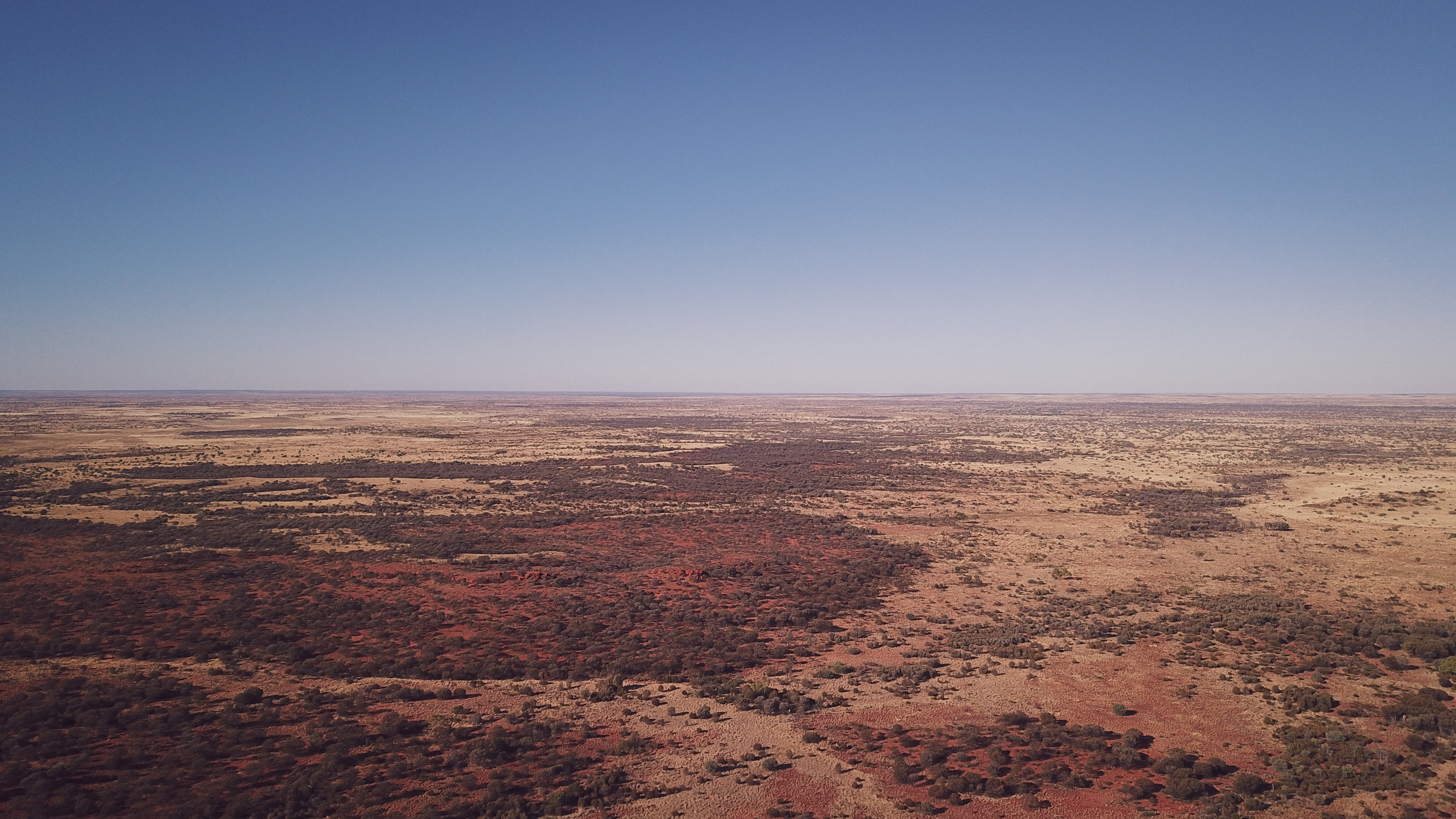 Wide landscape of the semi arid environment photographed from the air