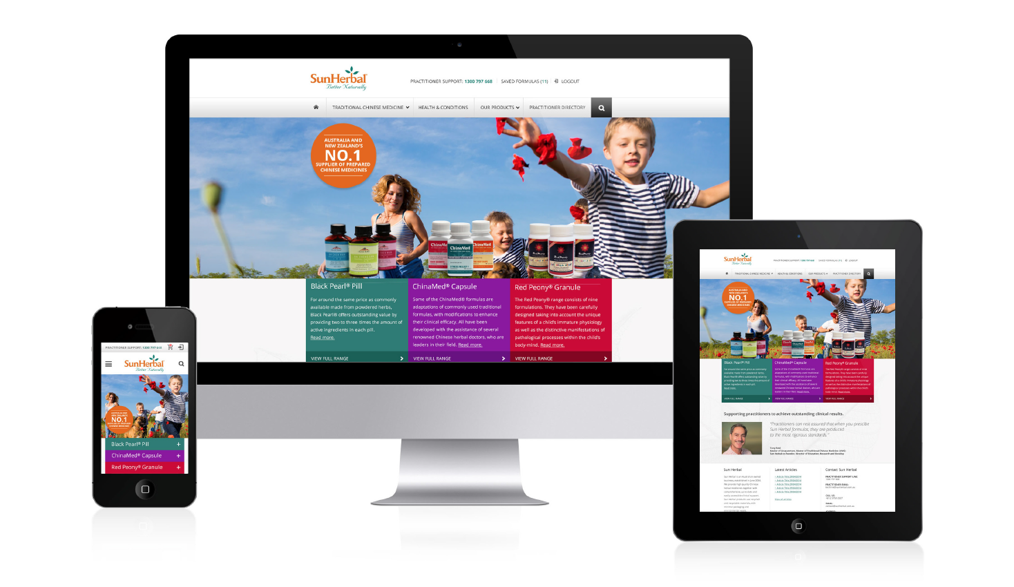 Sun Herbal responsive website showcase
